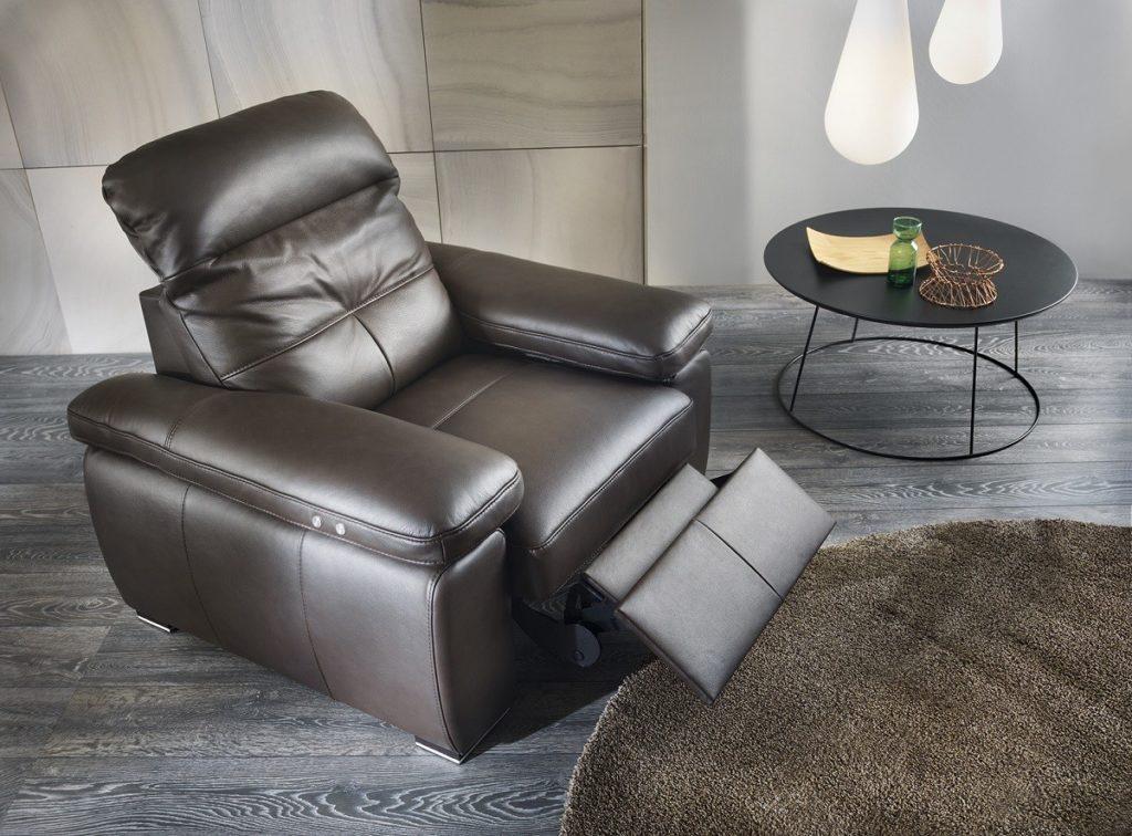 bőr relax fotel fekete