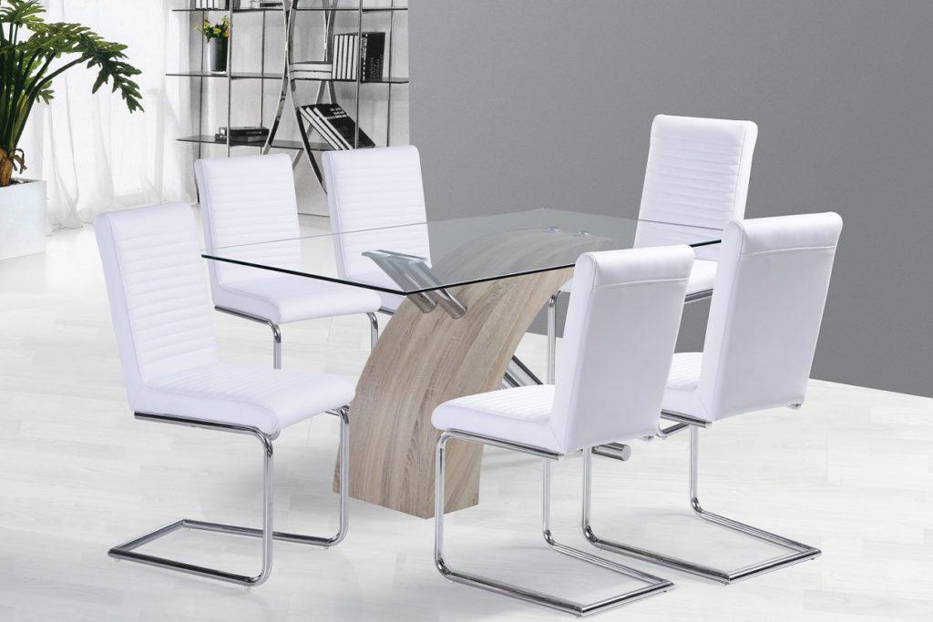 Étkező asztal üveges fehér székekkel