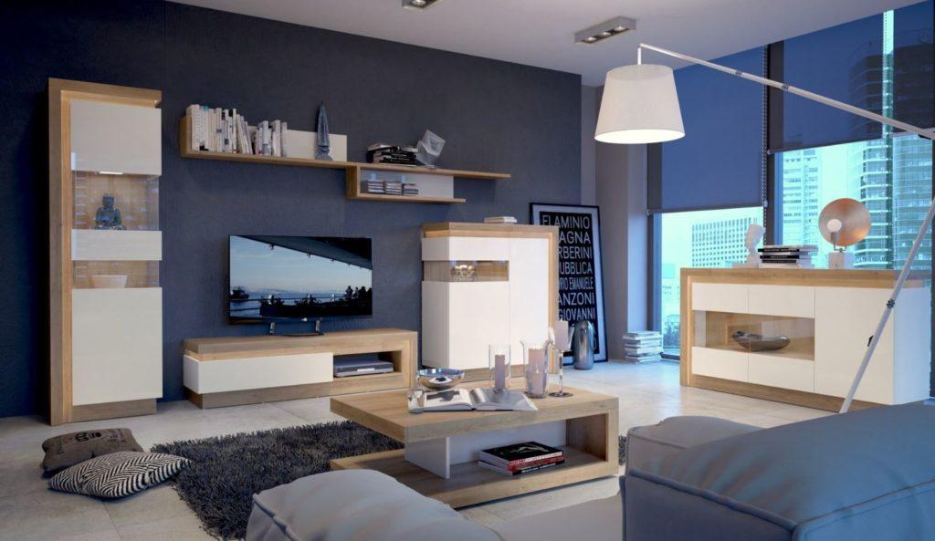 fehér magasfényű nappali bútorok LED