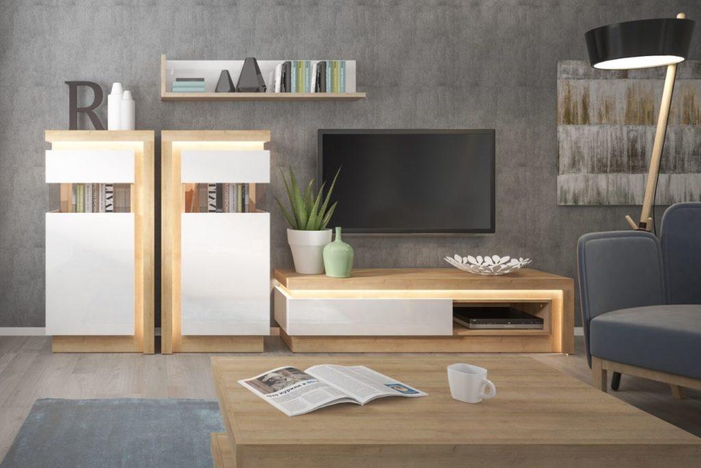 magasfényű nappali bútorok LED
