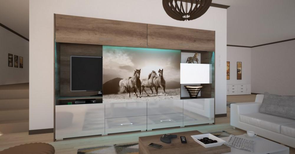 design nappali szekrénysor lovas képpel
