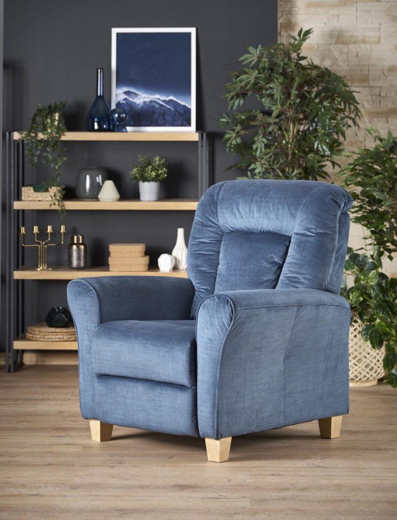 Bravo lábtartós kék fotel puha