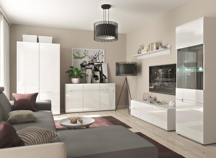 Azteca magasfényű fehér nappali bútor