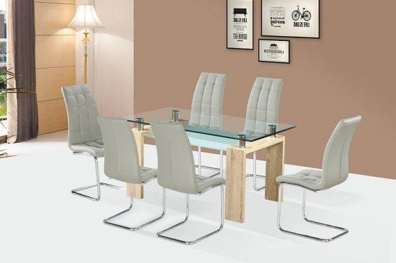 Dinar étkezőasztal sonoma színben, Colin székekkel